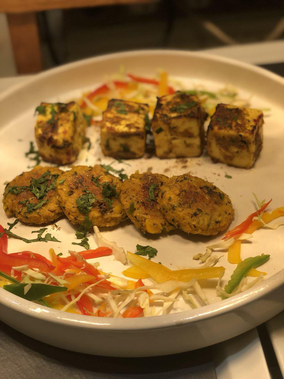 corn kebab and paneer tikka paatra